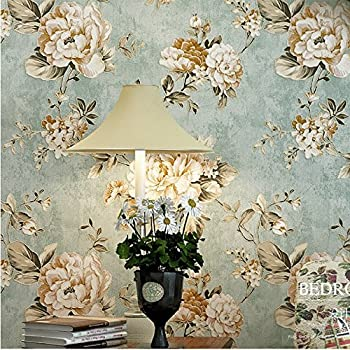 HaokHome DR3073 Non Woven Vintage Flower Wallpaper Blue Home Bedroom  WallPaper 20.8 Part 34