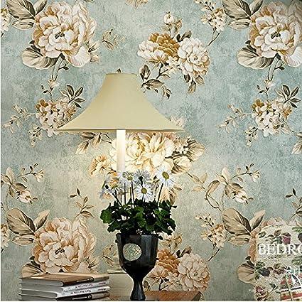 HaokHome DR3073 Non Woven Vintage Flower Wallpaper Blue Home Bedroom WallPaper 208quot