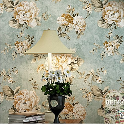 HaokHome DR3073 Non Woven Vintage Flower Wallpaper Blue Home bedroom WallPaper 20.8