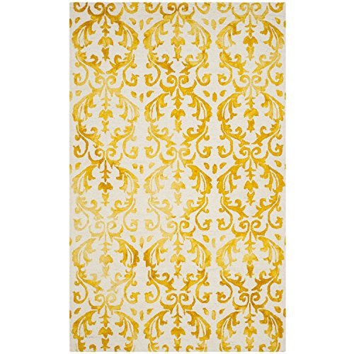 Safavieh Dip Dye Collection DDY689A Handmade Geometric Watercolor Ivory and Gold Wool Area Rug (5' x 8')