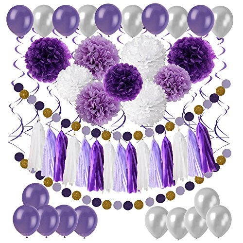 Cocodeko Diy Paper Pom Poms with Tissue Paper Tassel, Polka Dot Garland, Hanging Swirl Decorations and Balloon Kit for Birthday Wedding Showers Party Decorations - Purple