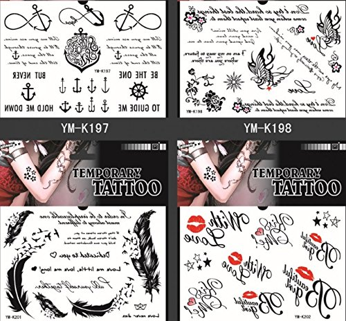 GGSELL GGSELL waterproof and non toxic temporary tattoos 4pcs temporary tattoos in one package, it's different English Word (Harry Potter Scar Makeup)