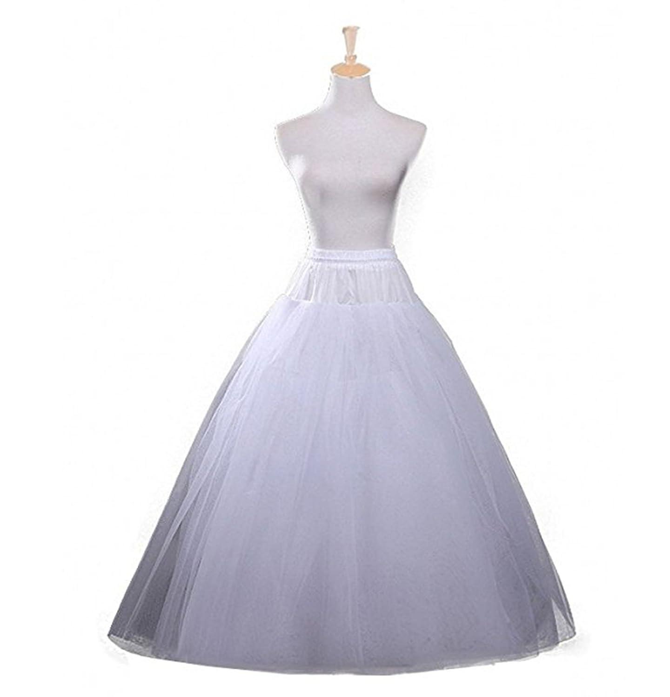 Veilbridal Women's 4 Layers Hoopless Tulle Bridal Petticoat Crinoline Underskirt