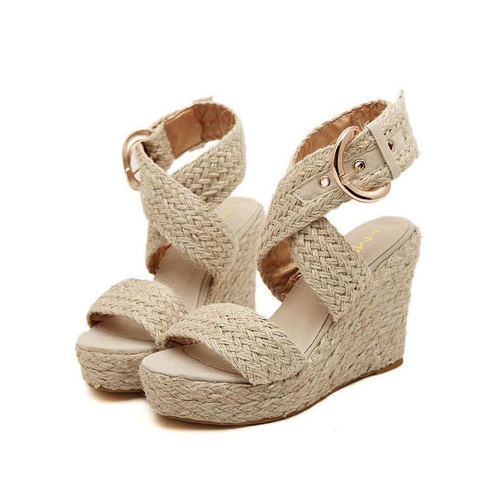 Sandals for Women Casual Big Size Buckle Wedges Sandals Wedge Heel Roman Shoes (43, Beige)