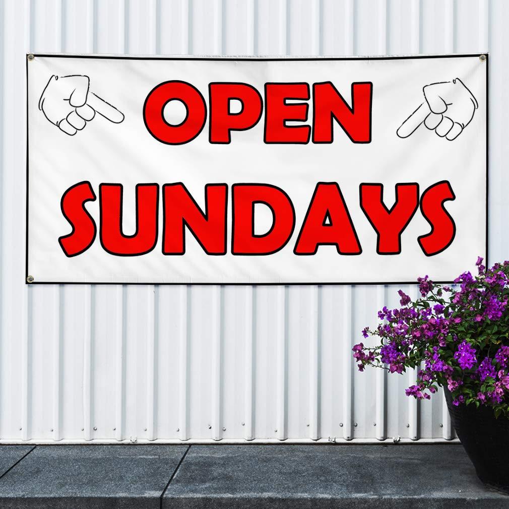 Multiple Sizes Available 4 Grommets 24inx60in Vinyl Banner Sign Open Sundays White Red Business Open Marketing Advertising White Set of 3