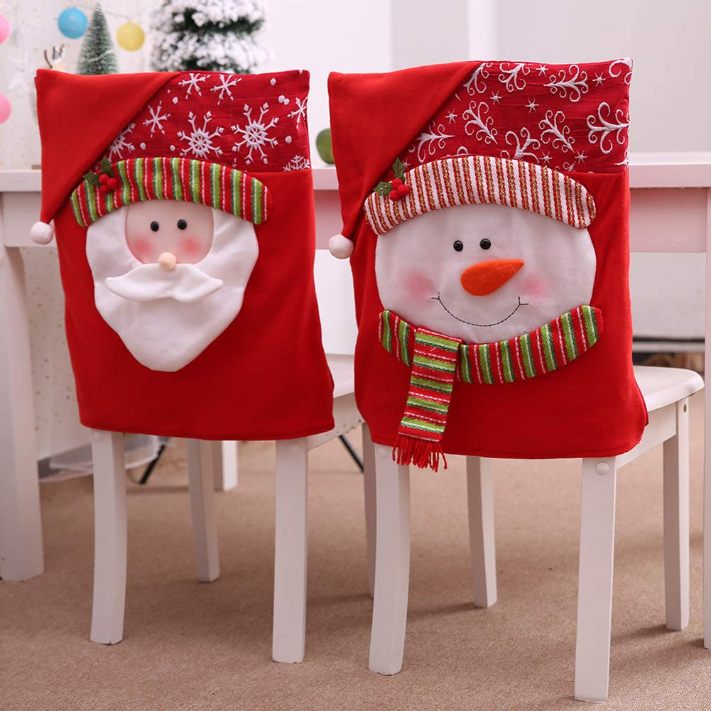 4/2Pack Christmas Chair Covers Santa Hat Chair Back Covers Xams Chair Covers Caps Slipcovers Set for Christmas Festive Home Dinner Table Chairs Decoration Kitchen Party Decor (02 2pack) by X19