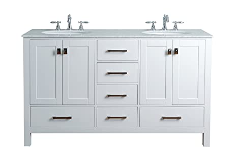 Genial Stufurhome GM 6412 60PW CR 60 Inch Malibu Pure White Double Sink Bathroom  Vanity     Amazon.com
