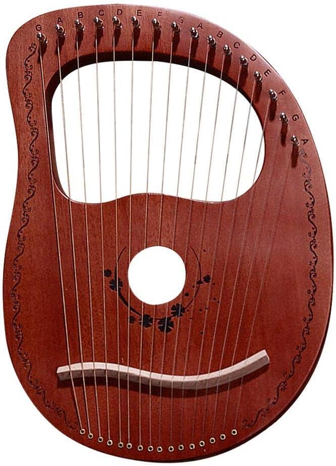 Fiaoen Arpa di Lira Arpa di Mogano con Corde dAcciaio durevoli Strumento Musicale a Corde in Legno Lira Portatile a 16 Toni