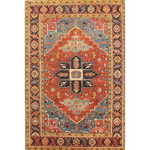 - Pasargad Serapi Collection Heriz Hand-Knotted Traditional Area Rug- Rust/Navy (5x7)
