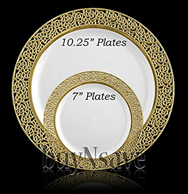 buyNsave White with Gold Heavyweight Plastic Elegant Disposable Plates, Wedding Party Elegant Dinnerware, Inspiration Collection