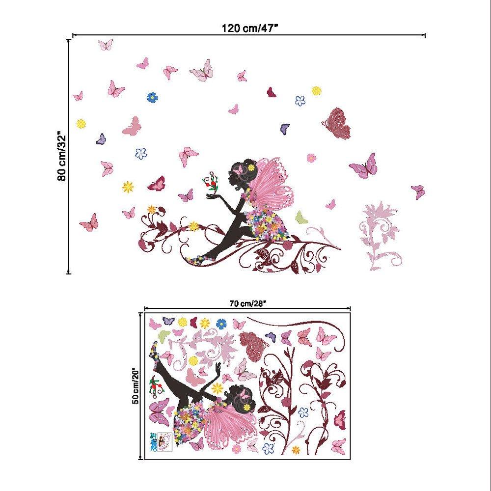 JiaMeng Pegatinas de Hadas de Flores de Mariposas Las Paredes de Las Habitaciones de los dormitorios: Amazon.es: Juguetes y juegos