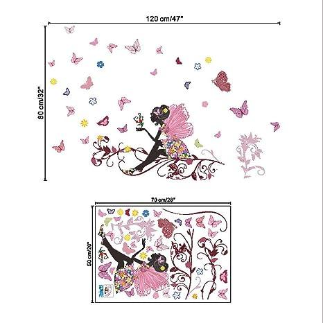 JiaMeng Pegatinas de Hadas de Flores de Mariposas Las Paredes de Las Habitaciones de los dormitorios