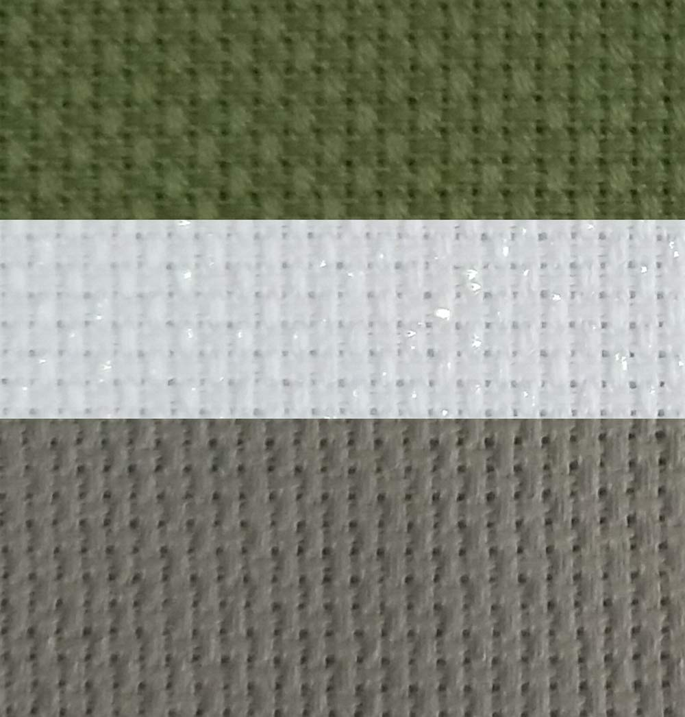 KCS 12' x 18' by 3 Pack 14CT Counted Cotton Aida Cloth Cross Stitch Fabric (White Opal+Olive+Grey)