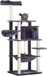 Hey-bro Extra Big Cat Tree with Feeding Bowl, Cat Condos with Sisal Poles, Hammock and Cave, Padded Platform, Climbing Tree for Cats, Anti-toppling Devices MPJ022