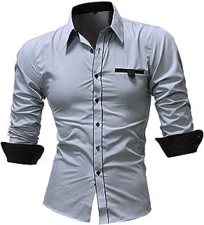 Kword Camicia da Uomo Maglietta Casual Manica Lunga Regolare-Fit Colore Solido Camicetta Uomo Vestito Camicia Business Casual Shirt T-Shirt Top