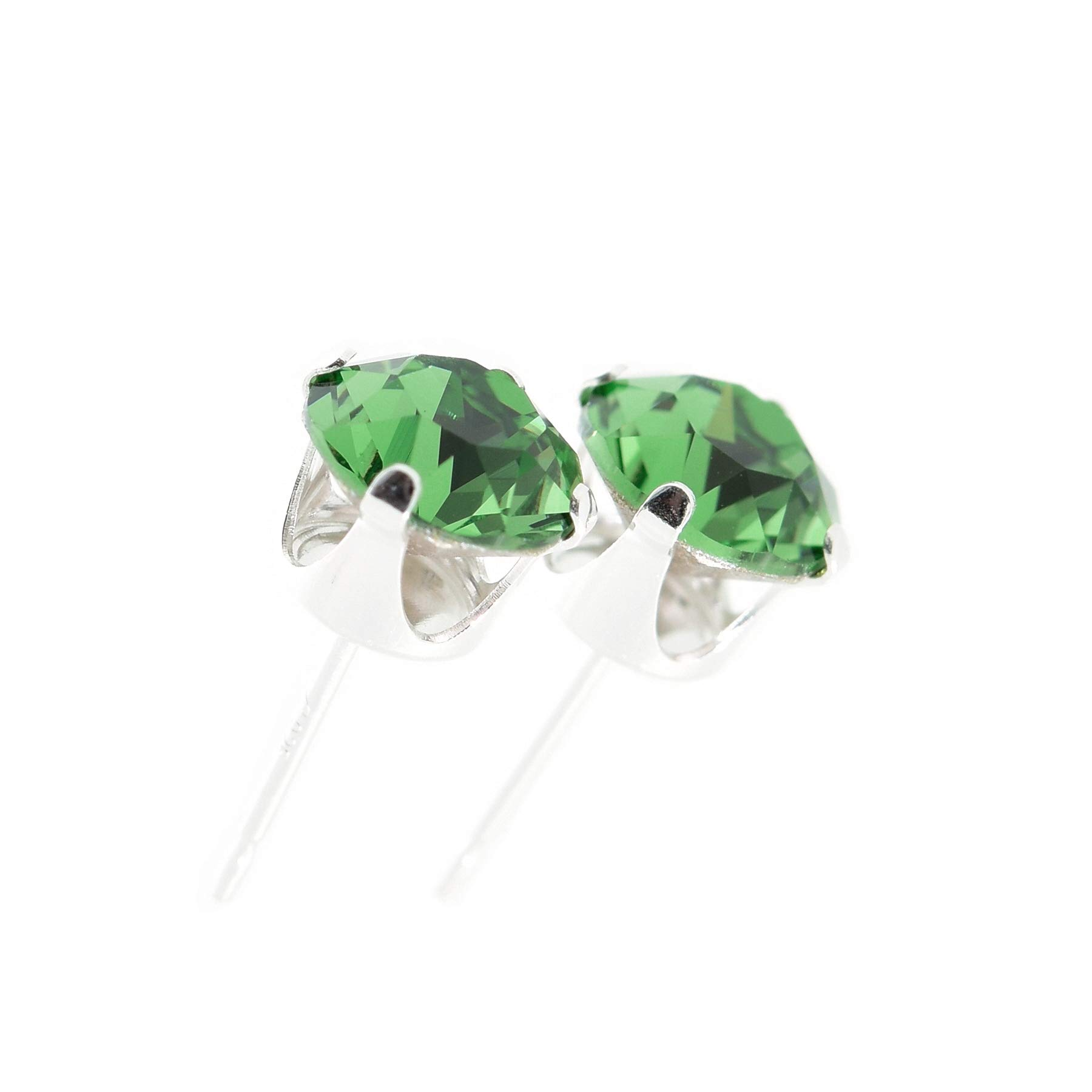 Classic Collection Sterling Silver Crystal Stud Earrings. Made with sparkling Erinite Green crystal stones. Gift box.