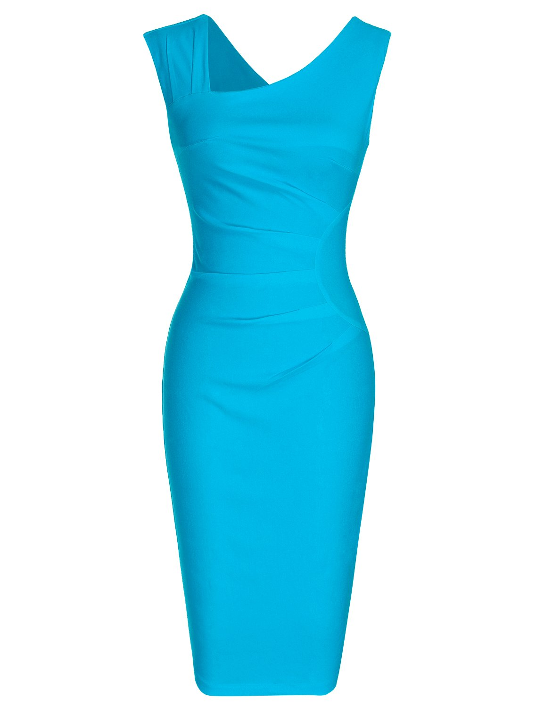 MUXXN Lady Audrey Hepburn Style Halter Strap Package Hip Womens Dress (Light Blue XL)