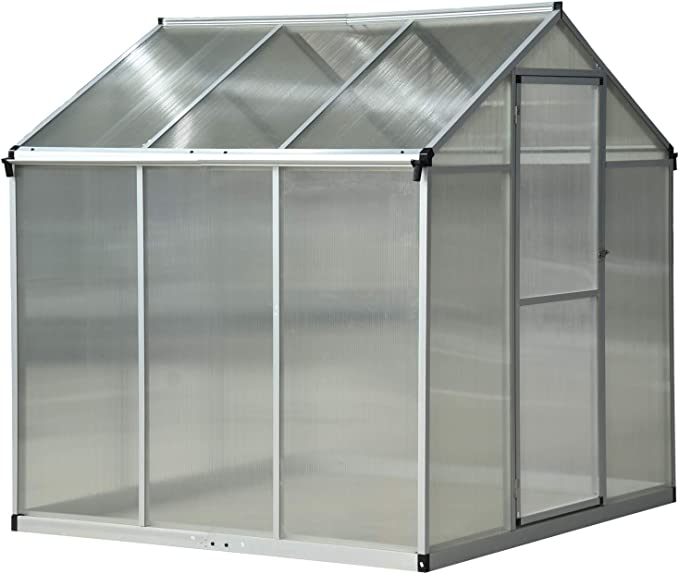 Outsunny - Invernadero de jardín para plantas, techo abatible y puerta corredera, transparente, 182 x 190 x 195 cm: Amazon.es: Jardín