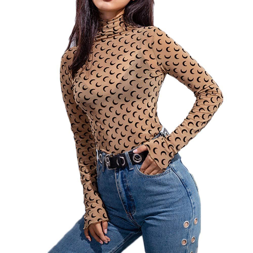 55fa28c2 Women Sexy See Through Mesh Sheer Shirts Long Sleeve Polka Dot Clubwear  Blouse Night Out Tops at Amazon Women's Clothing store: