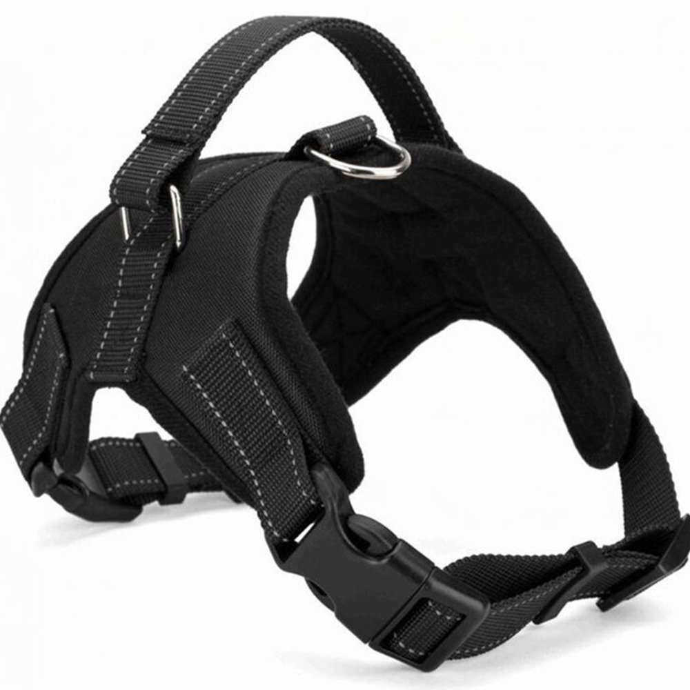 Santune Dog Harness Vest No Pull Adjustable Heavy Duty Oxford Reflective Safety Pet Harnesses with Handle for Small Medium Large Dogs Walking Traveling Training(Black,XL)