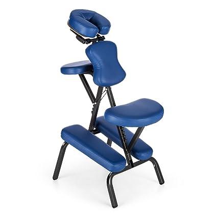 Klarfit MS 300 Silla de masaje con bolsa de transporte (silla de tatuar, hasta 120 kg, ligera, plegable, acolchado) - Azul