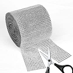 "BEARHORN Diamond Rhinestone Mesh Ribbon, Wedding Ribbon, Cake Ribbon, Vase Decorations, Party Supplies 4.75"" x 10 Yards, 24 Row, 1 Roll (Silver)"