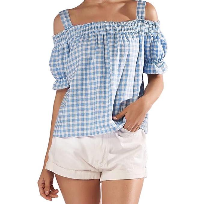 Camisas Manga Corta Rayas Mujer Camisetas Sin Hombros Mujer Verano AIMEE7 Blusas Sin Hombros Mujer Blusas