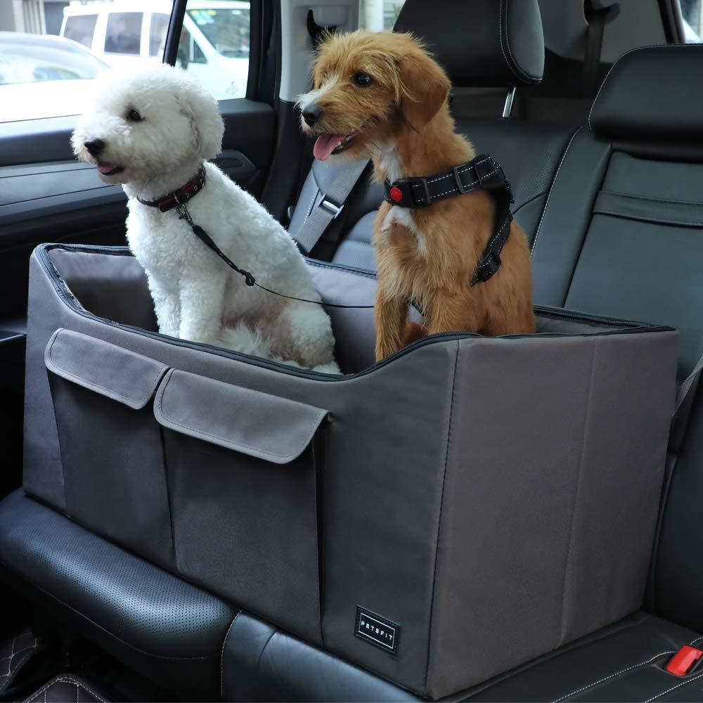 Petsfit Haustier Autositz mit Sicherheitsgurt Maschinenwaschbare Sicherheit und Komfort f/ür Reisen Herausnehmbarer Vlies- Tiersitz f/ür Hund und Katze zum Umschauen