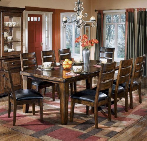Dining Room Furniture (Signature Design by Ashley D442-45 Larchmont Collection Dining Room Table, Burnished Dark)