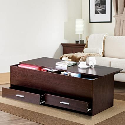 Yaheetech Living Room Slide Top Trunk Coffee Table With Storage Box U0026 2 Drawers  Side Table