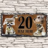 Custom Schnauzer Dog House Slate Personalised Pet Name Number Sign - 30cm x 15cm by Krafty Gifts
