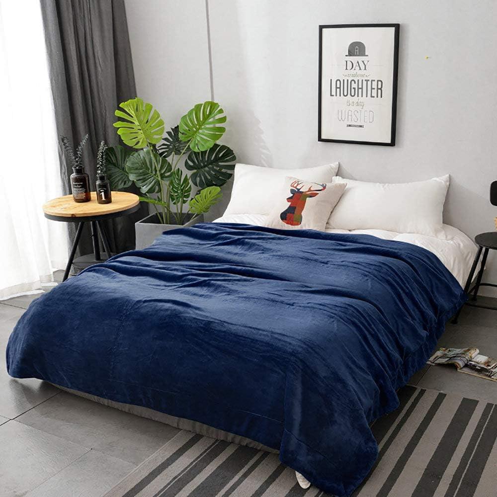 Twin Size Flannel Fleece Blanket Toute la Saison en Microfibre Extra Douce Luxueuse Couverture en Peluche pour Canap/é-Lit Bleu L/éger Lirex Couverture Polaire en Flanelle Lavable en Machine