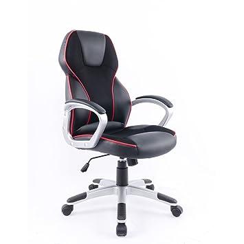 Colourliving Chaise De Bureau Ergonomique Rouge Hauteur Reglable