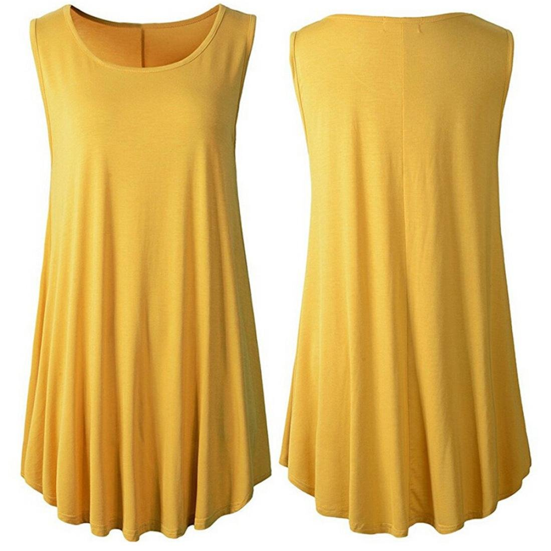 d36fdf3138 Amazon.com: Gallity Round Neck Tops Vest Women Casual Solid Sleeveless Tunic  Soft Swing Flare Tank Top (M, Yellow): Kitchen & Dining