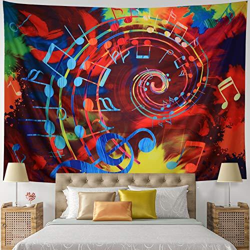 Leofanger Music Tapestry Wall Hanging Music Note Decor Tapestry Wall Tapestry Hippie Colorful Psychedelic Bohemian Mandala Tapestry Bedroom Home Dorm Decor (Small-59.1