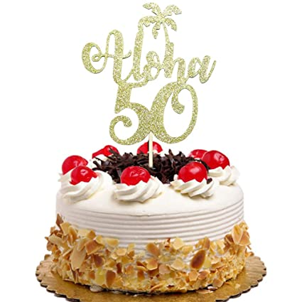 Image Unavailable Not Available For Color Aloha 50 Cake Topper