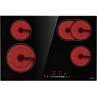 """Electric Cooktop, ECOTOUCH Radiant Cooktop 4 Burner Smoothtop Electric Cooktop 30"""" Built in Electric Stove Top, 240V CRAH774B"""