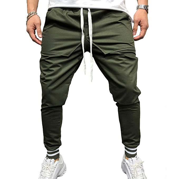 Men s Sport Joggers Hip Hop Jogging Fitness Pant Casual Pant Trousers Casual  Running Pants Army Green 947a3a85fb19