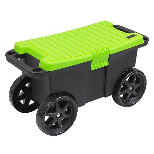 Rollbox kunststoff  Gartenbox Allzweckbox Kiste Deckel Box Trolley Rollbox Wagen ...