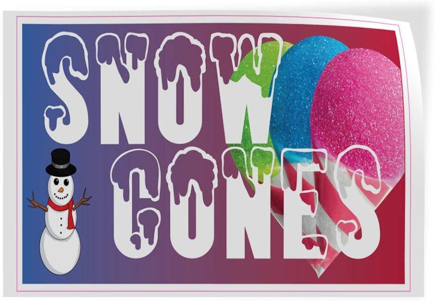 69inx46in One Sticker Decal Sticker Multiple Sizes Snow /& Cones Restaurant Cafe Bar Retail Snow Man Outdoor Store Sign White