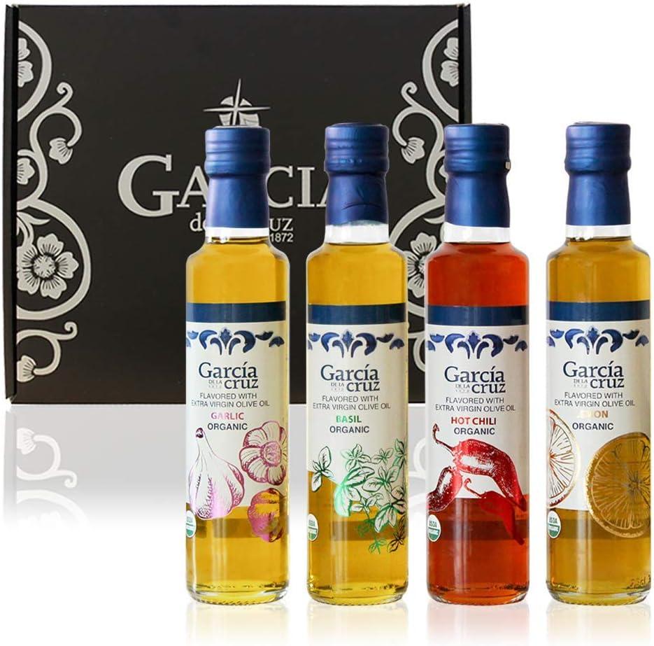 García de la Cruz - Aceite de oliva virgen extra aromatizado con diferentes sabores - Paquete combinado de 2x250ML - Alta calidad (Set de Regalo - Ajo, Albahaca, Chili y Limón)