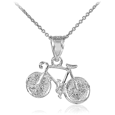 Amazon 925 sterling silver mountain bike sports charm bicycle 925 sterling silver mountain bike sports charm bicycle pendant necklace 16quot aloadofball Gallery