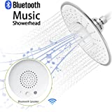 Shower Head, Morpilot Polished Chrome Top Spray Rain Shower Head with Waterproof Music Jet Wireless Bluetooth Speaker Showerhead Audio Box Built-in Mic with Answer Calls Button