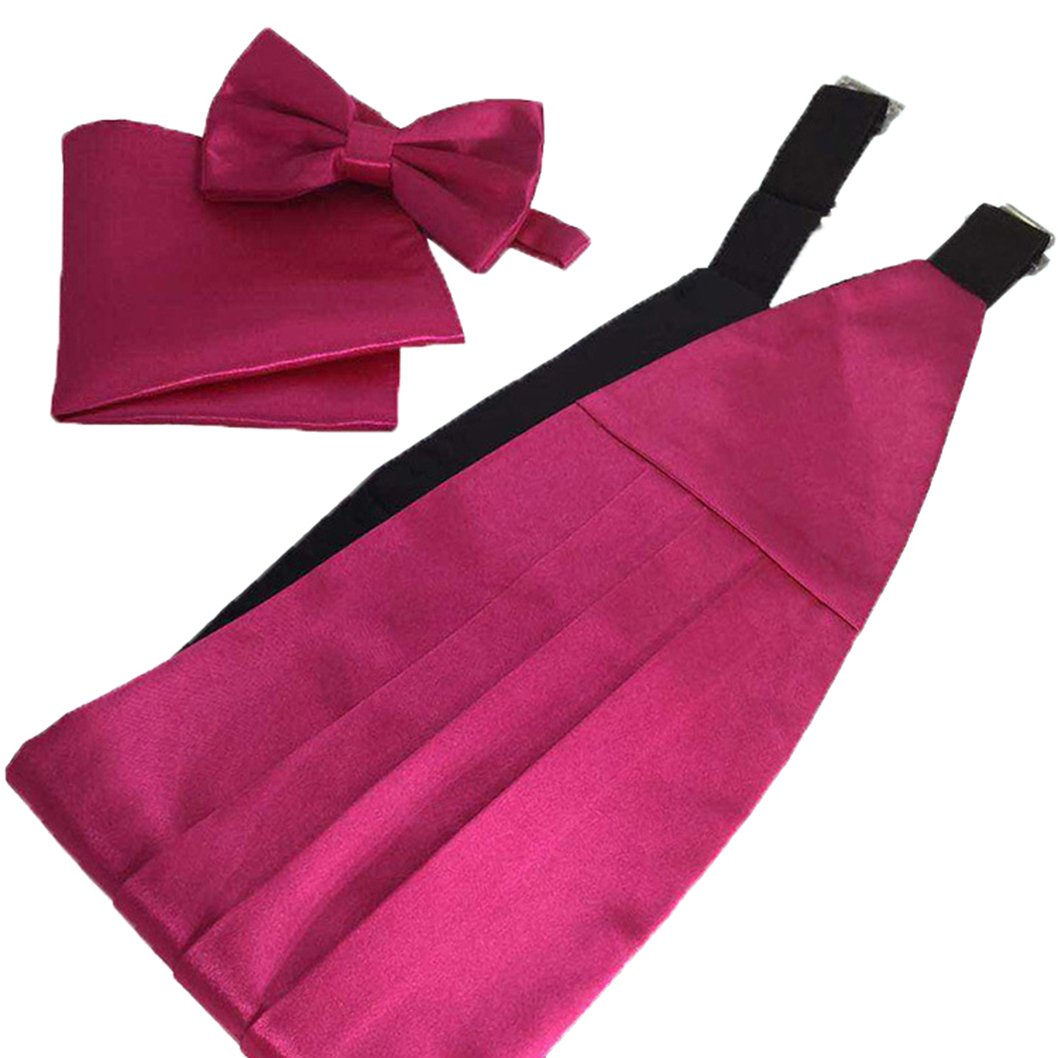 MENDENG Mens Satin Formal Bow Tie Pocket Square Cummerbund Set Gift Set Tuxedo