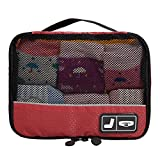 BAGSMART Travel Pouch Sock Storage Boxes Carry-on Organizer Bag, Red