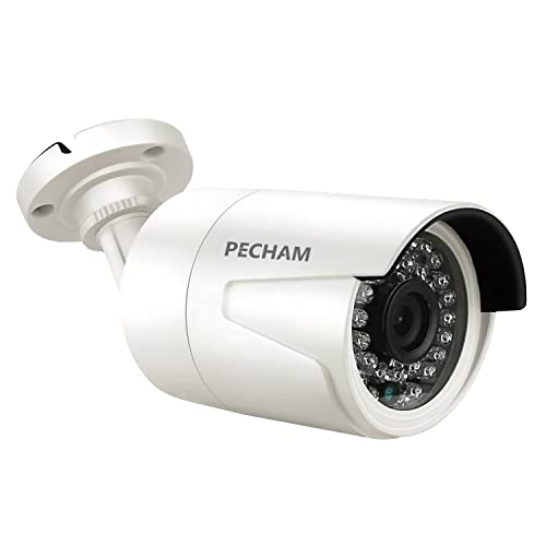PECHAM CCTV Analog Outdoor Camera Night Vision Security Bullet Cam (1200TVL 36 IR-LEDs 3.6mm Wide Angle Lens). High Resolution, IR Waterproof IP66