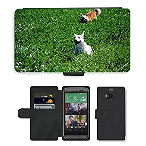 Super Stella Cell Phone Card Slot PU Leather Wallet Case // M00148690 Akita Labrador Dogs // HTC One M8