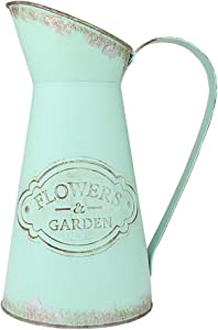 VANCORE Shabby Chic Large Metal Jug Vase Pitcher Flower Holder for Home Decoration