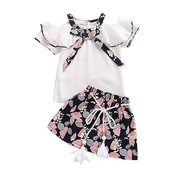 a9d3b15494e50 Amazon.com: Fashion Girl Outfits, Yaseking Short Sleeve Off Shoulder Ruffle  Print Top + Short Skirt Chiffon Set (110, White): Baby