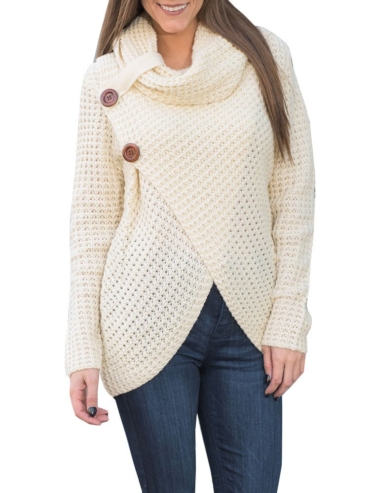 Womens Cowl Neck Chunky Cable Knit Sweaters Fall Winter Button Wrap ...